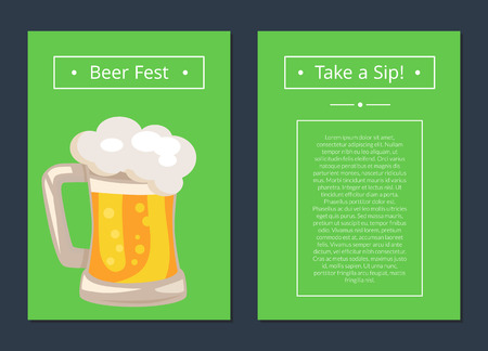 Beer Fest Collection of Posters with Full Mug 向量圖像