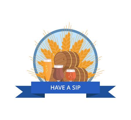 Avoir logo Sip avec du blé, des barils de bière et des verres Banque d'images - 90381139