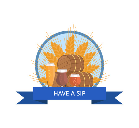 Have Sip Logo with Wheat, Beer Barrels and Glasses Banco de Imagens - 90381139