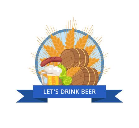 Drink Beer Oktoberfest Logo Vector Illustration Illustration