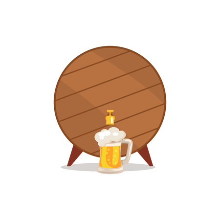 Wooden Barrel with Tap and Mug of Beer Vector