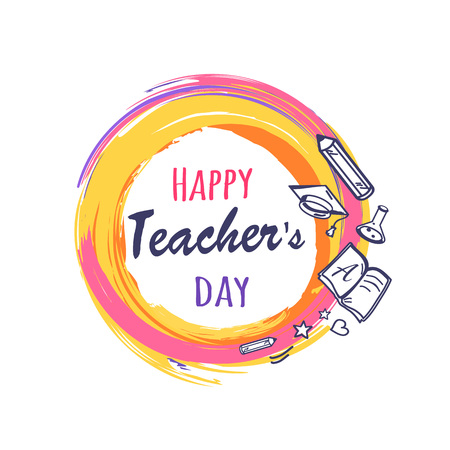 Happy Teachers Day Poster Vector Illustration