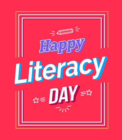 Happy Literacy Day Poster with Text, Pen Silhouette