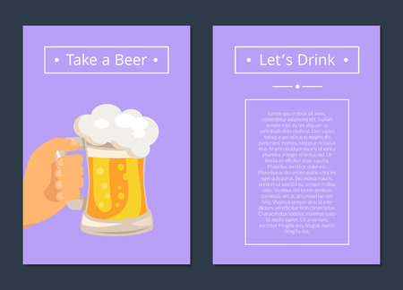 Take Beer and Let s Drink Set of Posters with Text