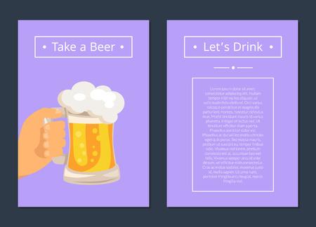 Tome cerveja e vamos beber conjunto de cartazes com texto Foto de archivo - 90383622
