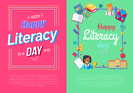 Set of posters for Literacy Day Vector Posters