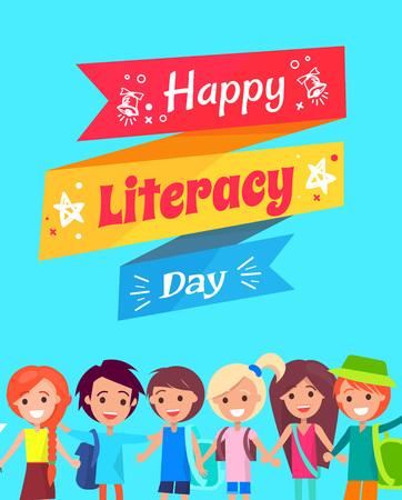 Happy Literacy Day Congratulation Postcard Ilustrace