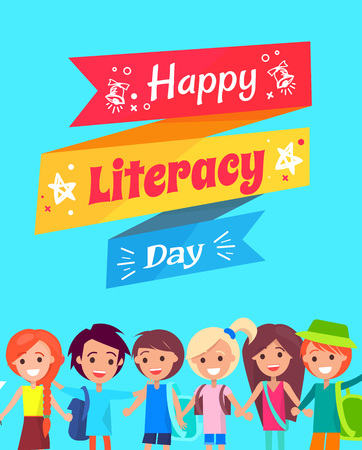 Happy Literacy Day Congratulation Postcard Illustration