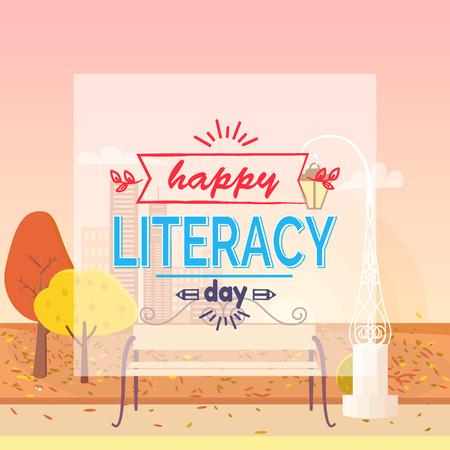 Happy Literacy Day Wish Autumn Vector Illustration