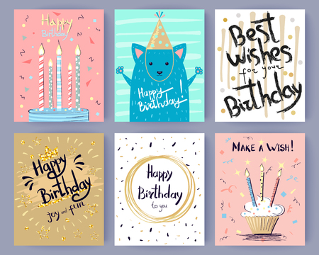 Happy Birthday Collection of Creative Postcards Stock fotó - 90490064