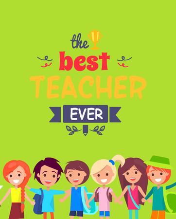 Best Teacher Ever Colorful Congratulation Postcard