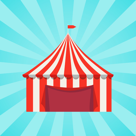 Circus Show Banner with Striped Tent Vector Poster Ilustrace