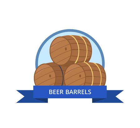 Beer Wooden Barrels Vector Illustration Isolated