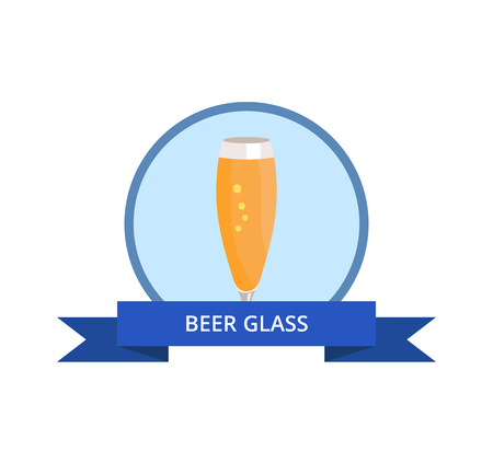 Beer Glass in Blue Circle Illustration.