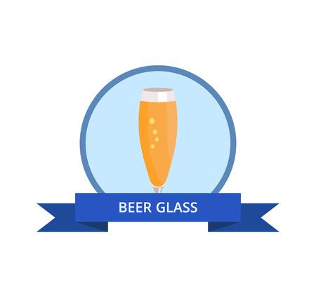 Bierglas in blauwe cirkelillustratie.