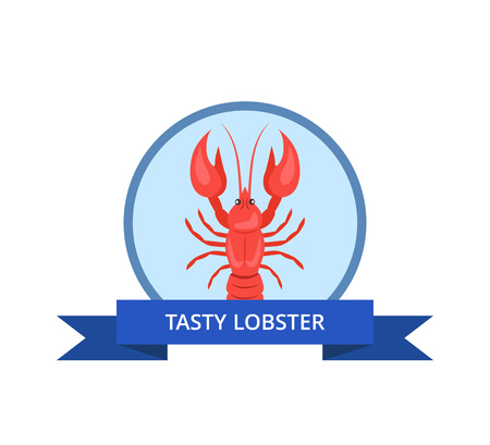 Tasty Lobster Logo with Crayfish Vector Isolated 일러스트