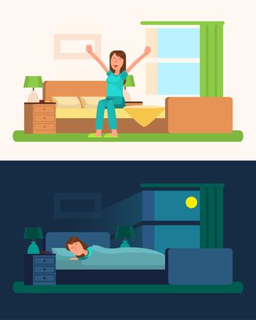 女の子のベクトル図と昼と夜の写真