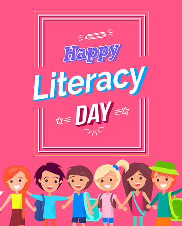 Happy Literacy Day Colorful Postcard design.