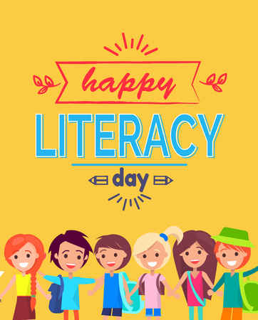 Happy Literacy Day Poster Illustration. Illustration