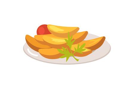 Plate Full of Food on White illustration. Illustration