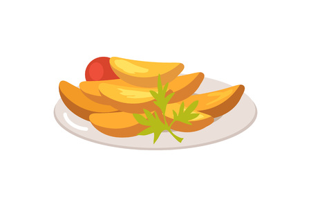 Plate Full of Food on White illustration. Illustration