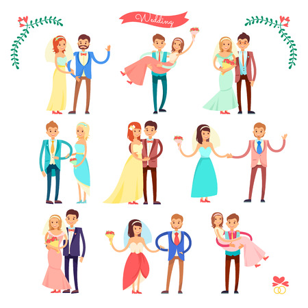 Wedding Icons Happy Couple on Vector Illustration Illustration