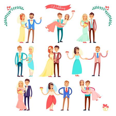 Wedding Icons Happy Couple on Vector Illustration 向量圖像