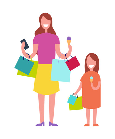 Mother and child shopping together. Illustration