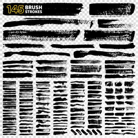145 Brush Strokes Types on Vector Illustration