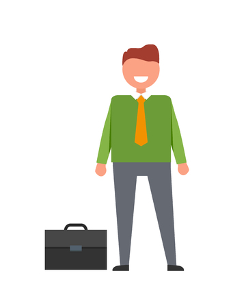 Cheerful Businessman and Briefcase Illustration