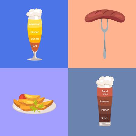 Bier en voedsel illustratie.