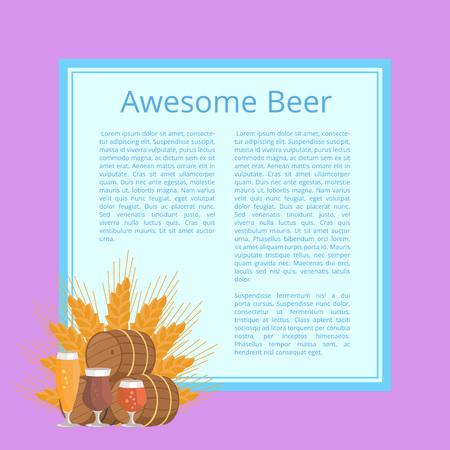 Awesome Beer Poster Depicting Barrels and Glasses Illustration