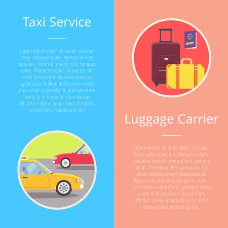Taxi Service Luggage Carrier Illustration. Illustration