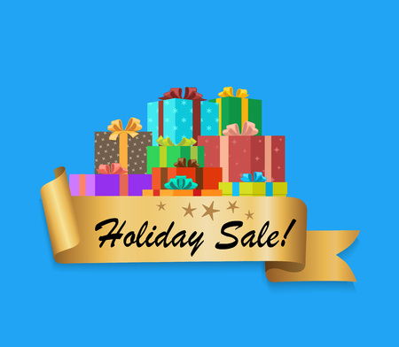 Holiday Sale Banner with colorful gift boxes design. Ilustração