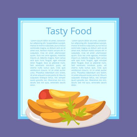 Leckeres Essen Poster mit gerösteten Kartoffeln auf Teller Standard-Bild - 90934083