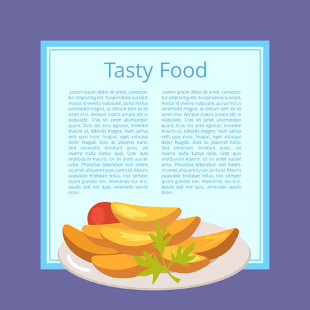 Tasty Food Poster with Roasted Potatoes on Plate