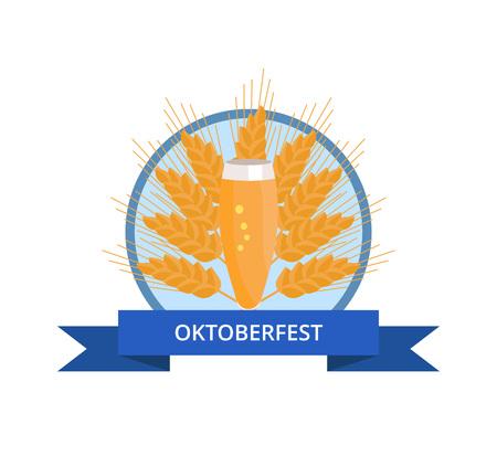 Oktoberfest Logo with Glass of Beer on Ear Çizim