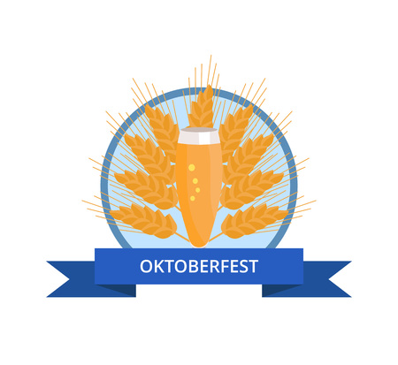 Oktoberfest Logo with Glass of Beer on Ear Illustration