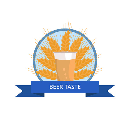 Beer Taste Logo. Pint of Dark Beverage. Ear of Wheat