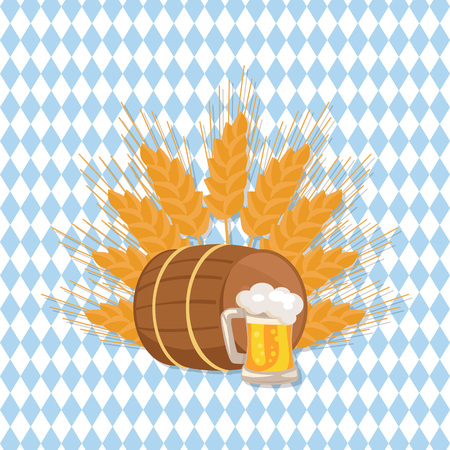 Wooden Barrel with Beverage and Mug of Beer Vector Illustration