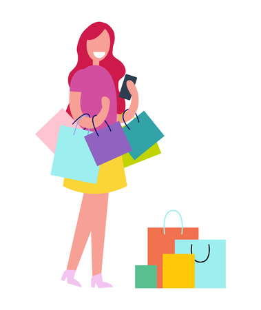 Female with Shopping Bags Vector Illustration Illustration