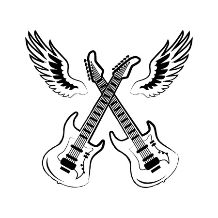 Electric Guitars with wing illustration.