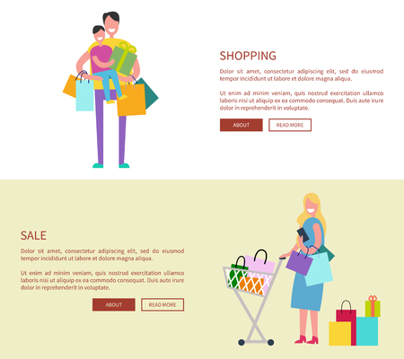 People with shopping bags illustration.