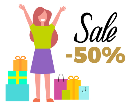Sale -50% off with happy woman and colorful bags banner design.