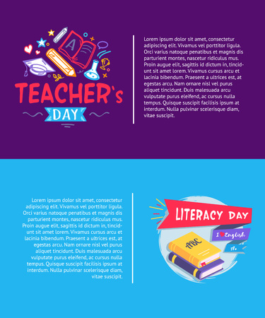 Teachers Day and Literacy Day banner illustration.
