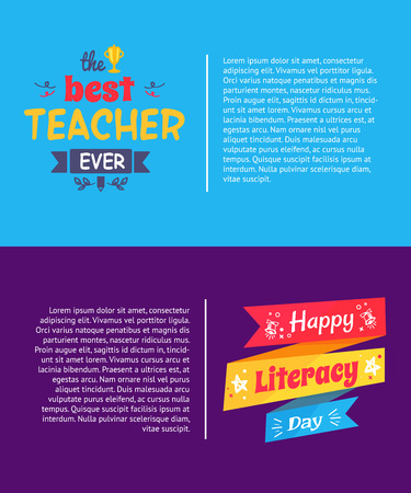 Best Teacher Ever Poster Vector Illustration. Illustration