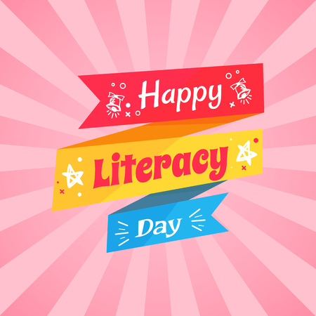 Happy Literacy Day Wish on Multicolored Doodle