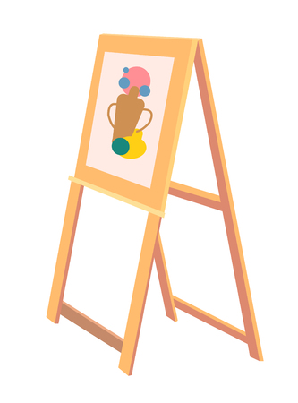 Wooden Easel with Sketch of Vase Painted Icon Illusztráció
