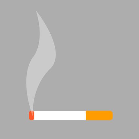 Burning Cigarette Isolated Illustration on White