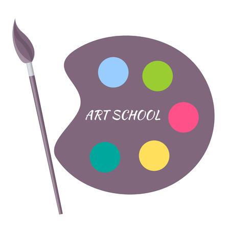 Art School Paints Color Palette with Brush Vector Ilustracja
